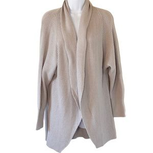 Philosophy Gray Ribbed Draped Cardigan (M) NEW